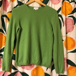 Green 💯 cashmere 2-ply knit sweater Charter Club